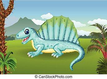 dinosaure, préhistorique, fond