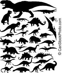 dinosaure, silhouettes