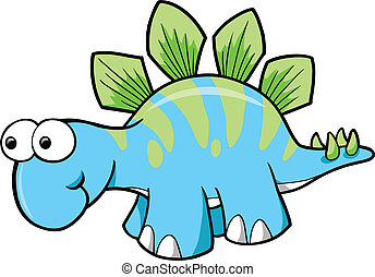 dinosaure, stegosaurus, vecteur, idiot