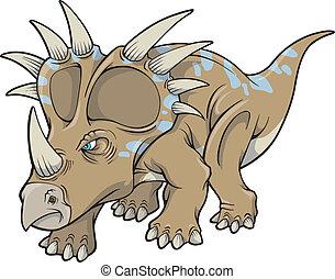 dinosaure, triceratops, vecteur, art