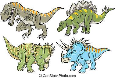 dinosaure, vecteur, ensemble, illustration