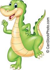 dinosaure, vert, dessin animé