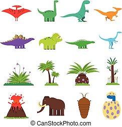 dinosaures, ensemble, plat