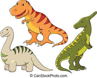 dinosaures, ensemble, vecteur, -