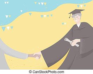diplômé, buntings, illustration, féliciter