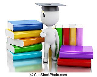 diplômé, gens, books., 3d, blanc