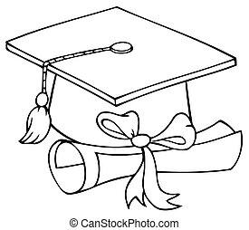 diplôme, chapeau gradué