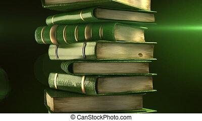 diplôme, livres, vert, pile