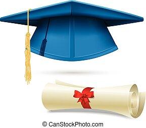 diplôme, mortarboard, cyan