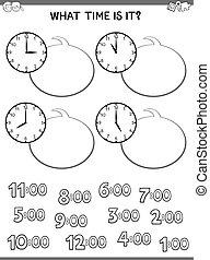 dire, horloge, temps, face jeu, enfants