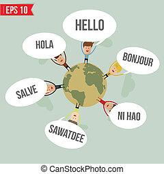 dire, mondiale, vecteur, -, langues, bonjour, eps10, illustration