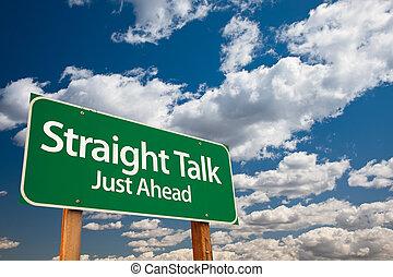 directement, vert, parler, panneaux signalisations