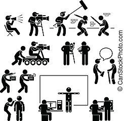 directeur, confection, filmer, acteur, film