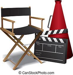 directeur, film, chaise