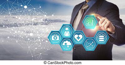 directeur, monde médical, données, réseau, rapporter