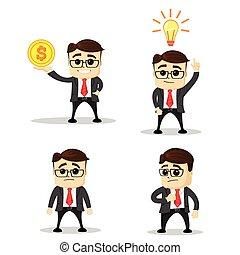 directeur, poses., homme affaires, heureux, idea., mignon, bureau, ensemble, vector., caractères, character., illustration., ouvrier, nouveau, plat