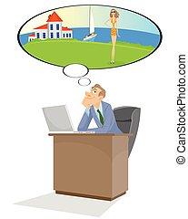 directeur, rêves, bureau