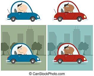 directeur, voiture., conduite, collection