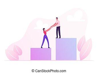 direction, graphique, vecteur, croissance, équipe, dessin animé, escalade, carrière, aller, concept., chart., tenue, reussite, businesspeople, investissement, business, sommet, illustration, mains, plat, performance, diagram., haut, colonne