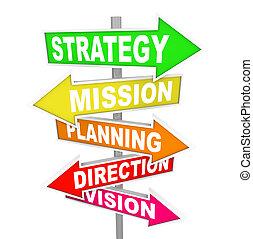 direction, mission, stratégie, planification, panneaux signalisations, vision