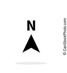 direction, nord, arrière-plan., compas, blanc, icône