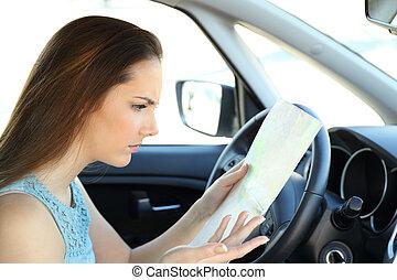 direction, perdu, chauffeur, trouver, essayer, guide