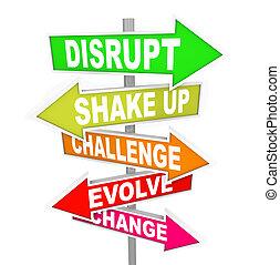 direction, perturber, idées, signes, nouvelle technologie, changement