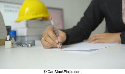 direction, pointage femme, il, main, stylo, papier, mains, utilisation, blanc, dessin, rouges, homme