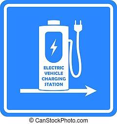 direction, voiture électrique, ou, vecteur, vehicle., template., station, signe, charger, route