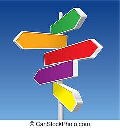 directionnel, (vector), signes