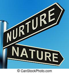 directions, poteau indicateur, nourrir, ou, nature
