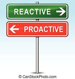 directions, réactif, proactive, signe