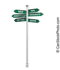directions, soutien, signe
