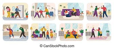 disagreement., famille, problème, conflit, relation, paires, pendant, gens