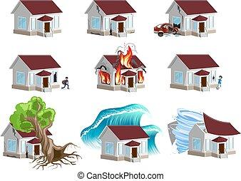 disaster., maisons, ensemble, assurance, maison