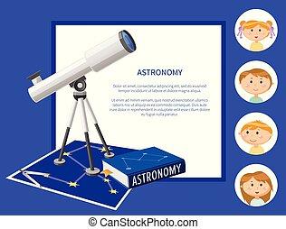 discipline, gosses école, astromomie, sujet