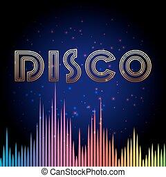 disco, fond, soundwaves
