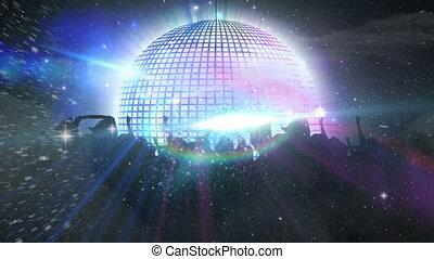 disco, rotation, balle, concert, miroir, gens, musique, contre, danse