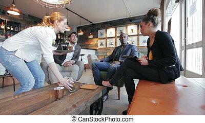 discussin, café, professionnels