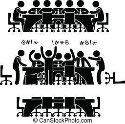 discussion, réunion, business, icône