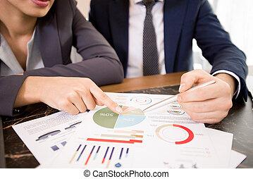discuter, résultats, business, recherche
