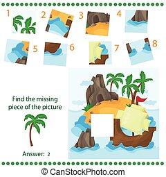 disparu, île, puzzle, -, trouver, exotique, jeu, bateau, morceau, enfants