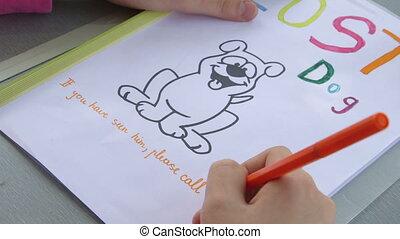 disparu, chouchou, écriture, main, enfant, signe