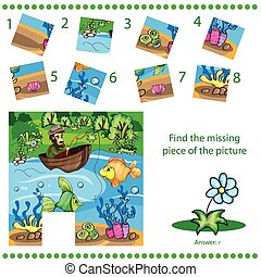 disparu, puzzle, -, trouver, morceau jeu, enfants