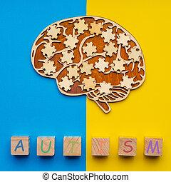 dispersé, humain, morceaux puzzle, railler, cubes, bleu, cerveau, autism., inscription, six, jaune, arrière-plan., haut