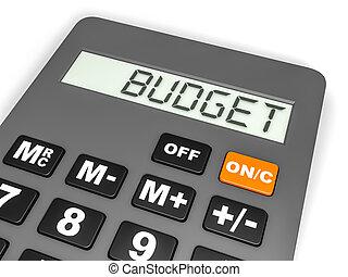 display., calculatrice, budget