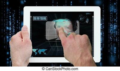displayi, mains, numérique, utilisation, tablette