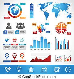 disposition, éléments, conception, business, infographics