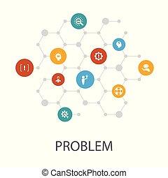 disposition, icônes, solution, couverture, analyser, infographics., problème, dépression, présentation, gabarit