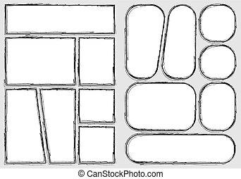 disposition, proportion, cadre, isolé, fait main, livre croquis, style, conception, crise, dehors., créer, comique, manga, papier, style., rapidement, gabarit, a4, storyboard, impression, vecteur, ensemble